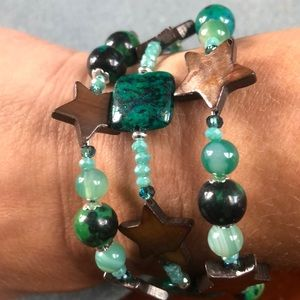 ⭐️ green azurite chrysocolla Star bracelet